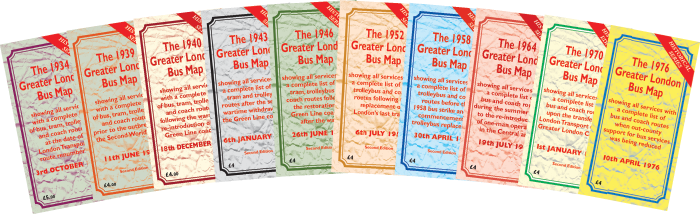 The Greater London Bus Map Historical Series Set