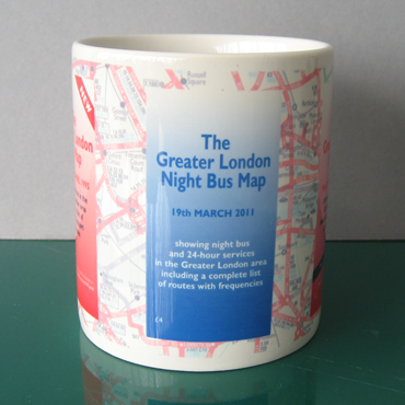 The Greater London Bus Map Mug view of 2011 Night Bus Map